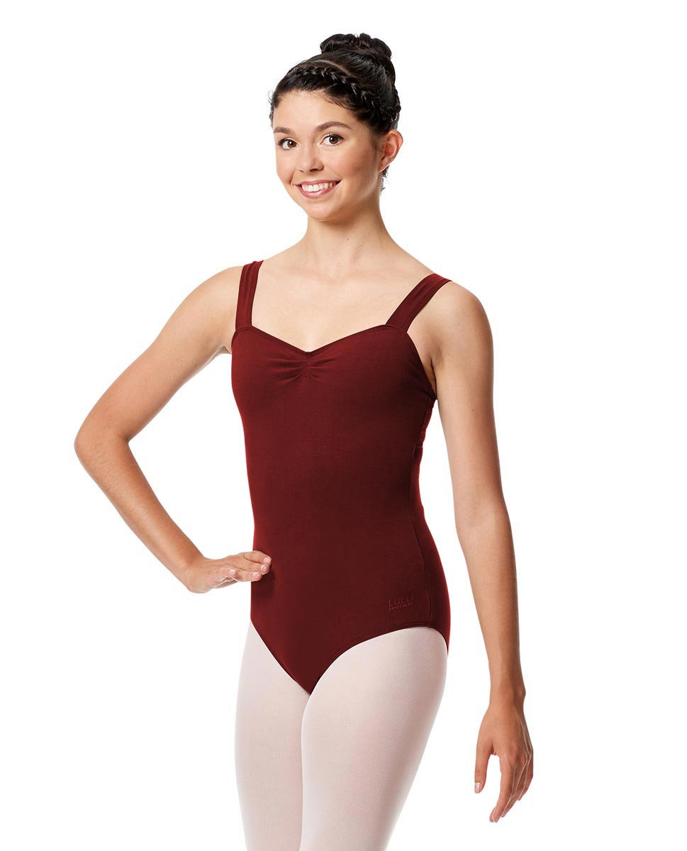 Pinch Front Leotard Constanza with Wide Straps BUR