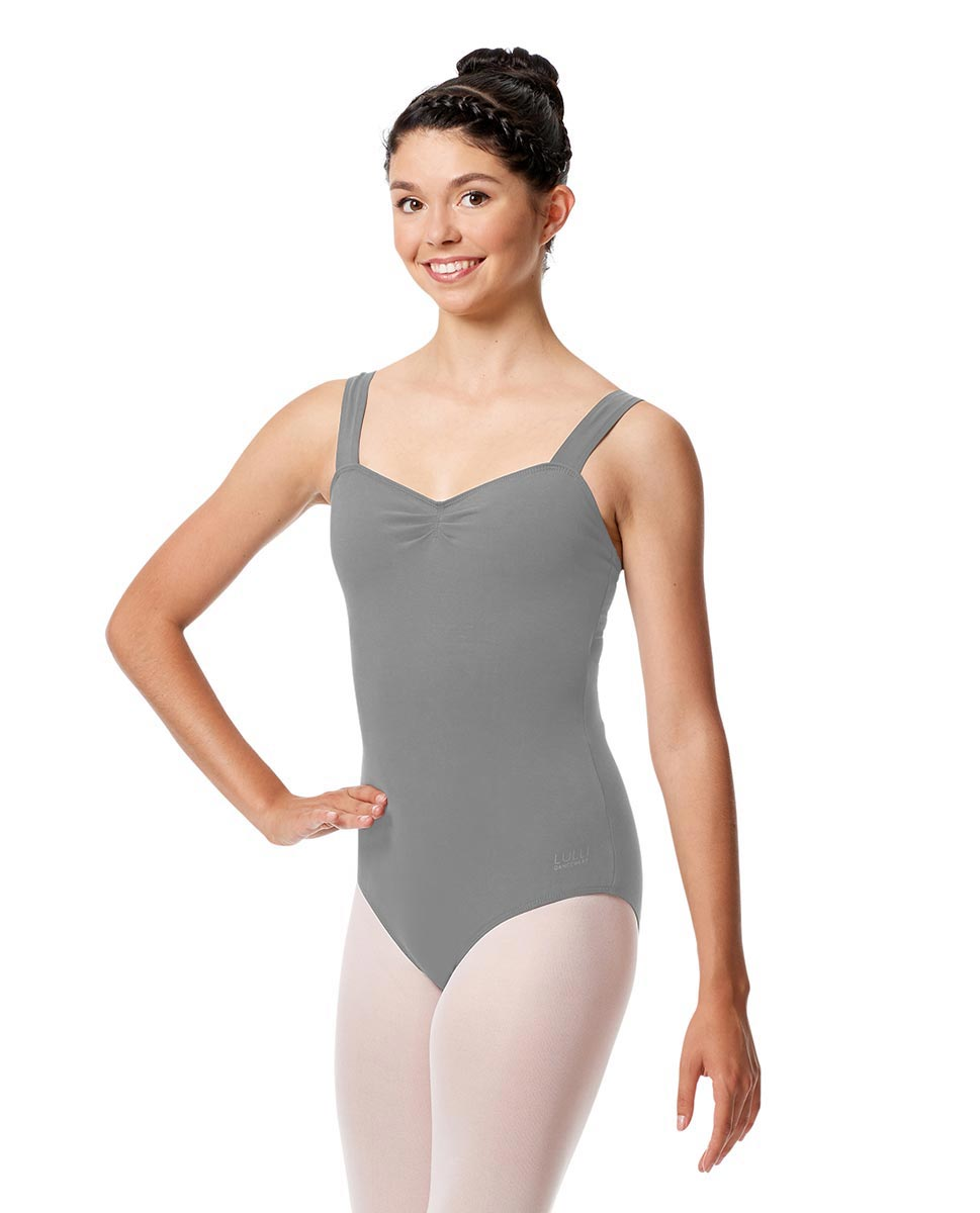 Pinch Front Leotard Constanza with Wide Straps GRE