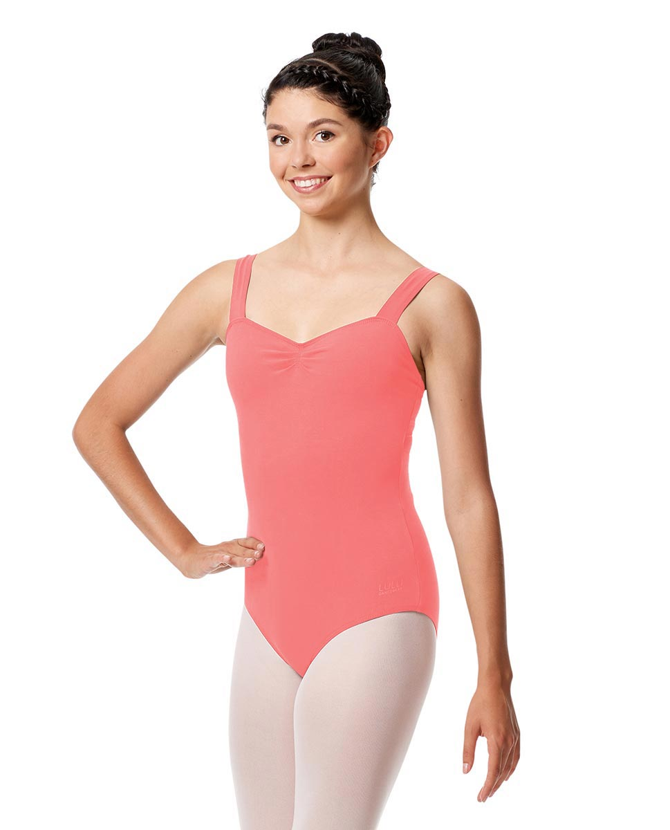Pinch Front Leotard Constanza with Wide Straps PEAC