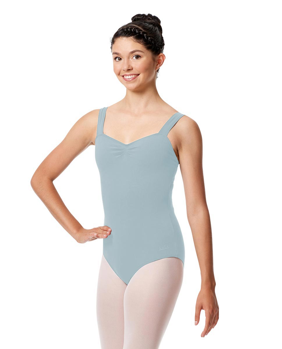 Pinch Front Leotard Constanza with Wide Straps SKY