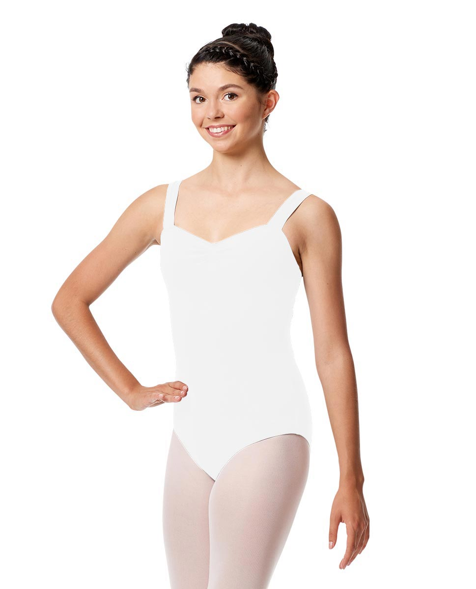Pinch Front Leotard Constanza with Wide Straps WHI