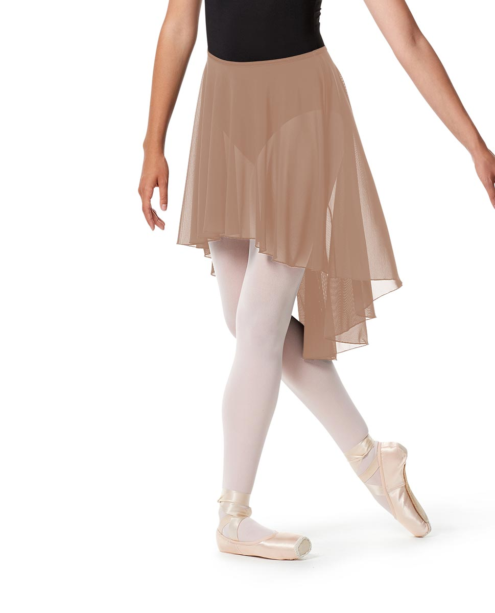 High-Low Ballet Mesh Skirt Lucrezia with Elastic Waistband NUD
