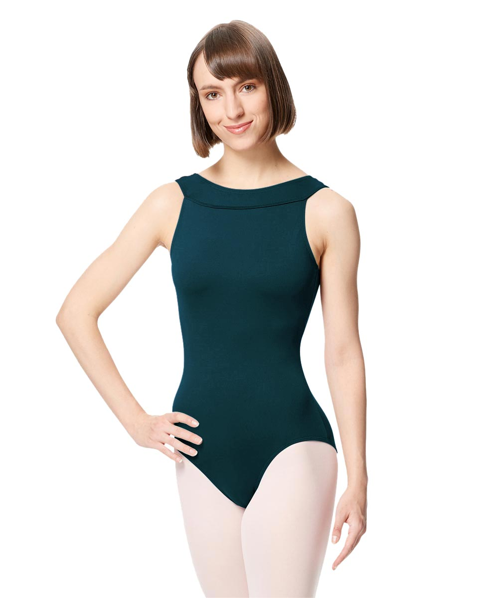 Women Microfiber Criss Cross Tank Dance Leotard Abel DTEAL