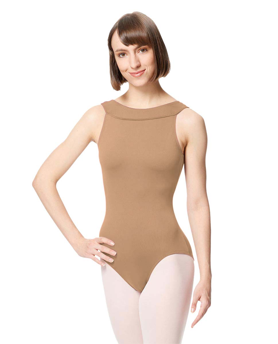Women Microfiber Criss Cross Tank Dance Leotard Abel NUD