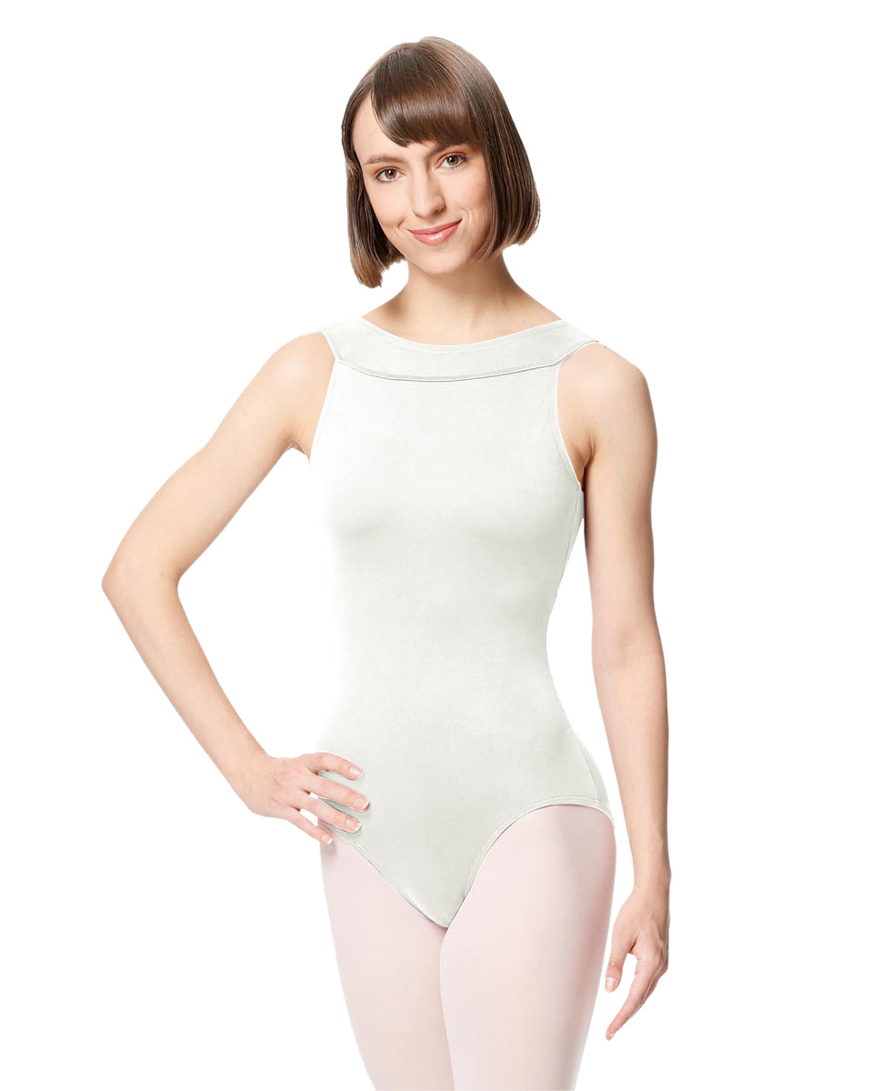 Women Microfiber Criss Cross Tank Dance Leotard Abel WHI