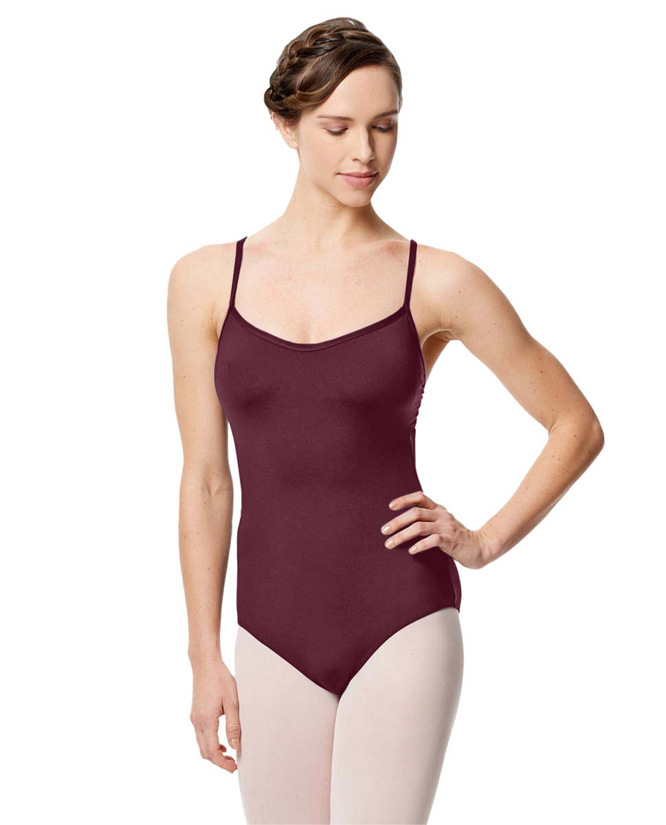 Microfiber Camisole Leotard With Removable Breast Cups Addie WINE