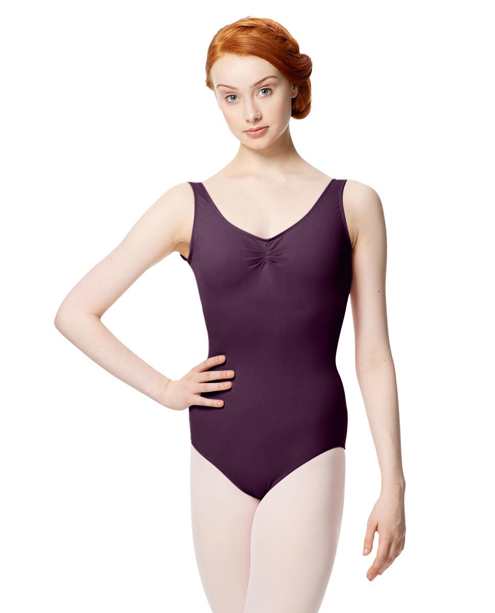 Microfiber Gathered Front and Back Tank Leotard Adrien AUB