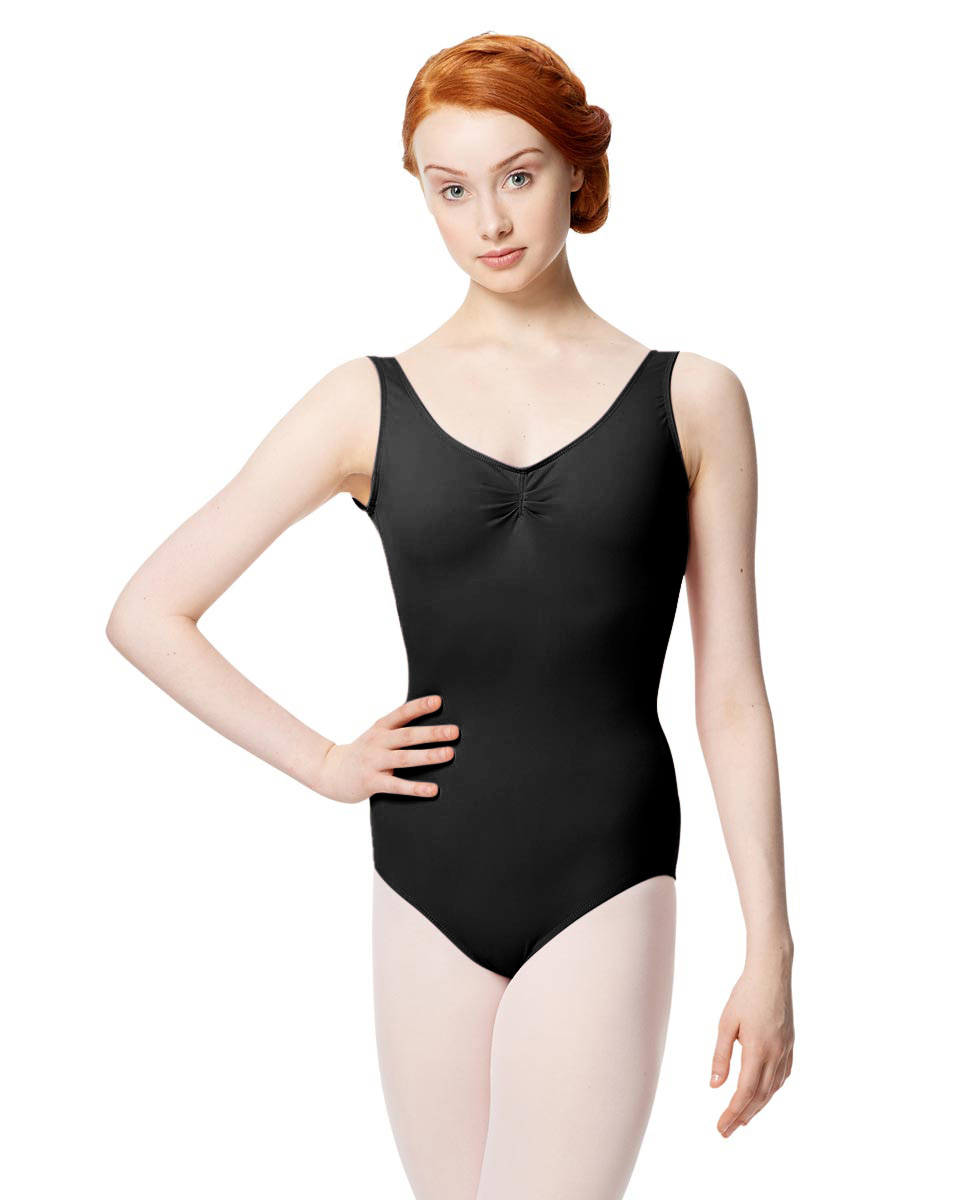 Microfiber Gathered Front and Back Tank Leotard Adrien BLK