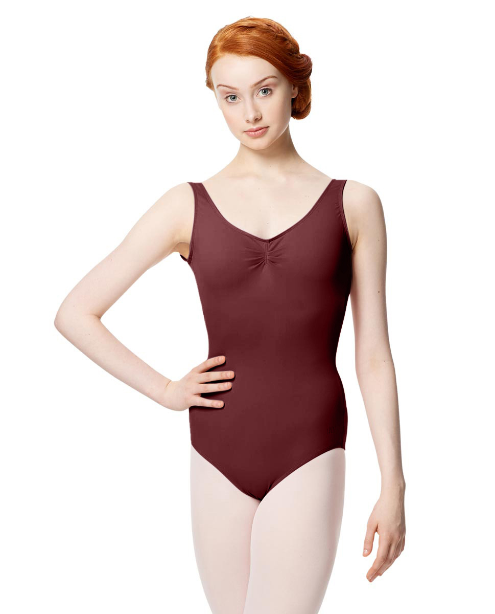 Microfiber Gathered Front and Back Tank Leotard Adrien BUR