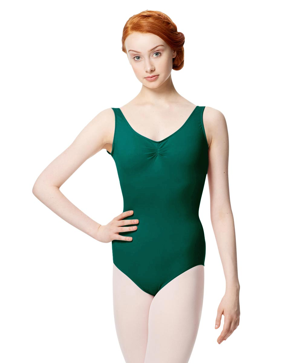 Microfiber Gathered Front and Back Tank Leotard Adrien DGREEN