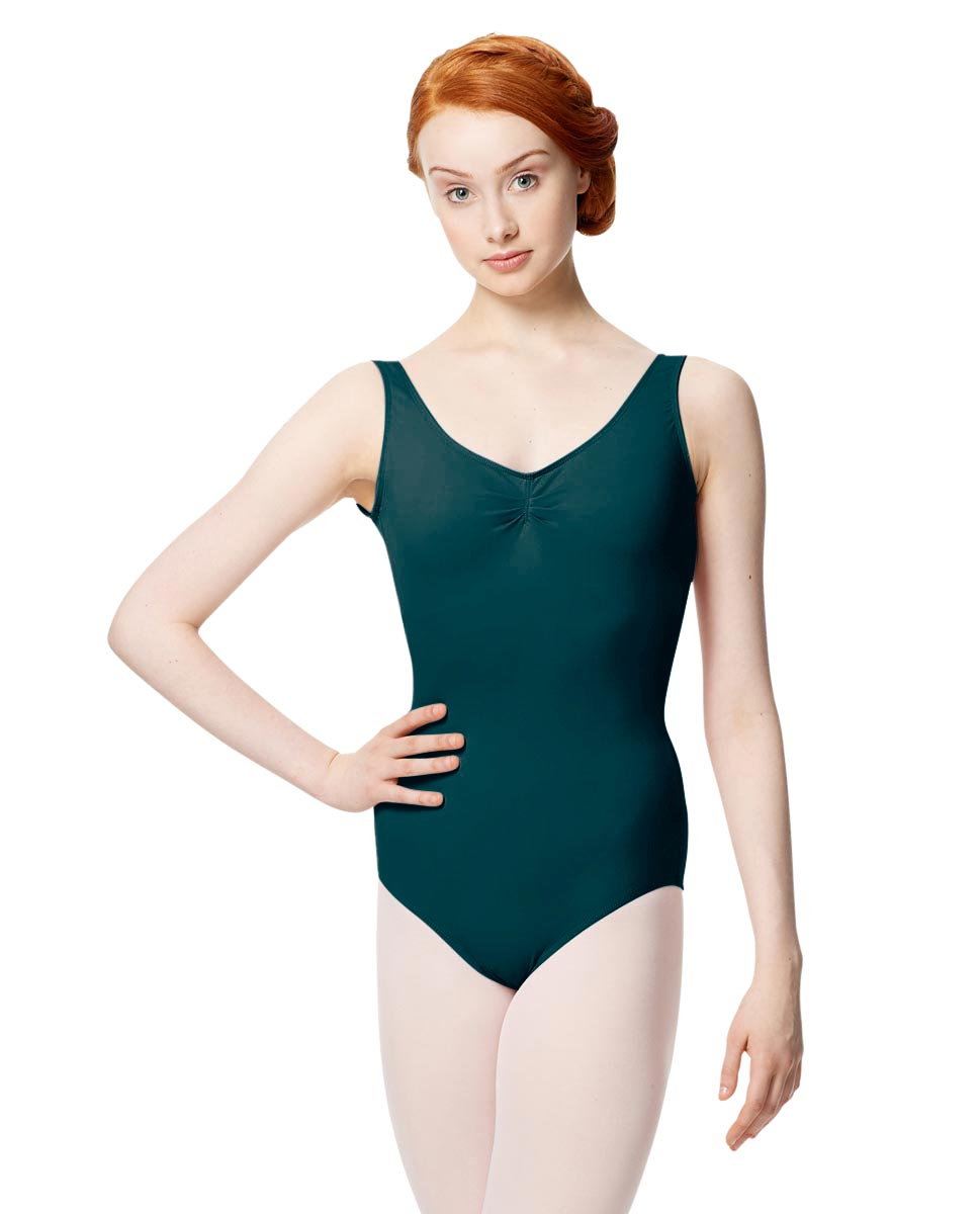 Microfiber Gathered Front and Back Tank Leotard Adrien DTEAL