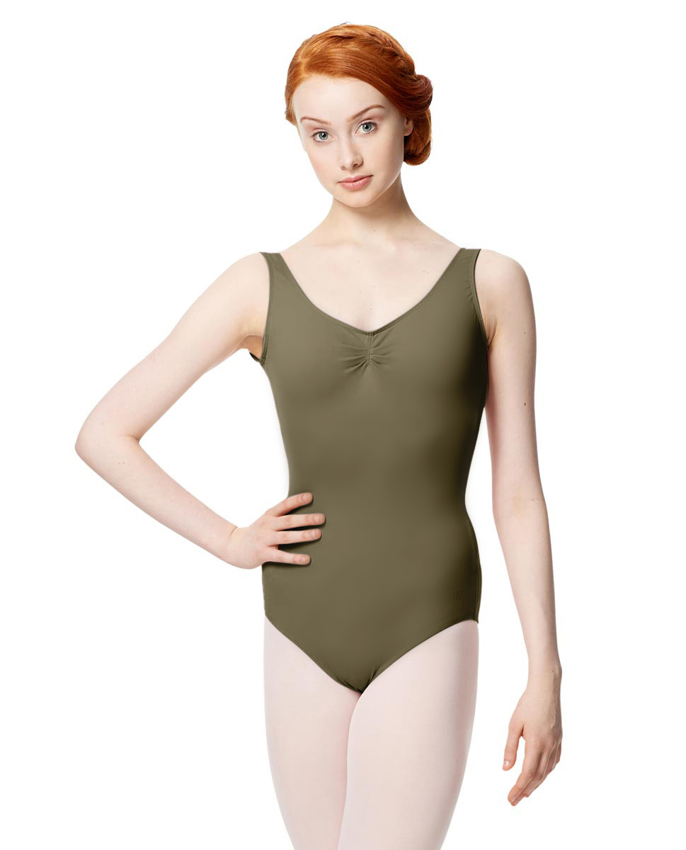 Microfiber Gathered Front and Back Tank Leotard Adrien KHA