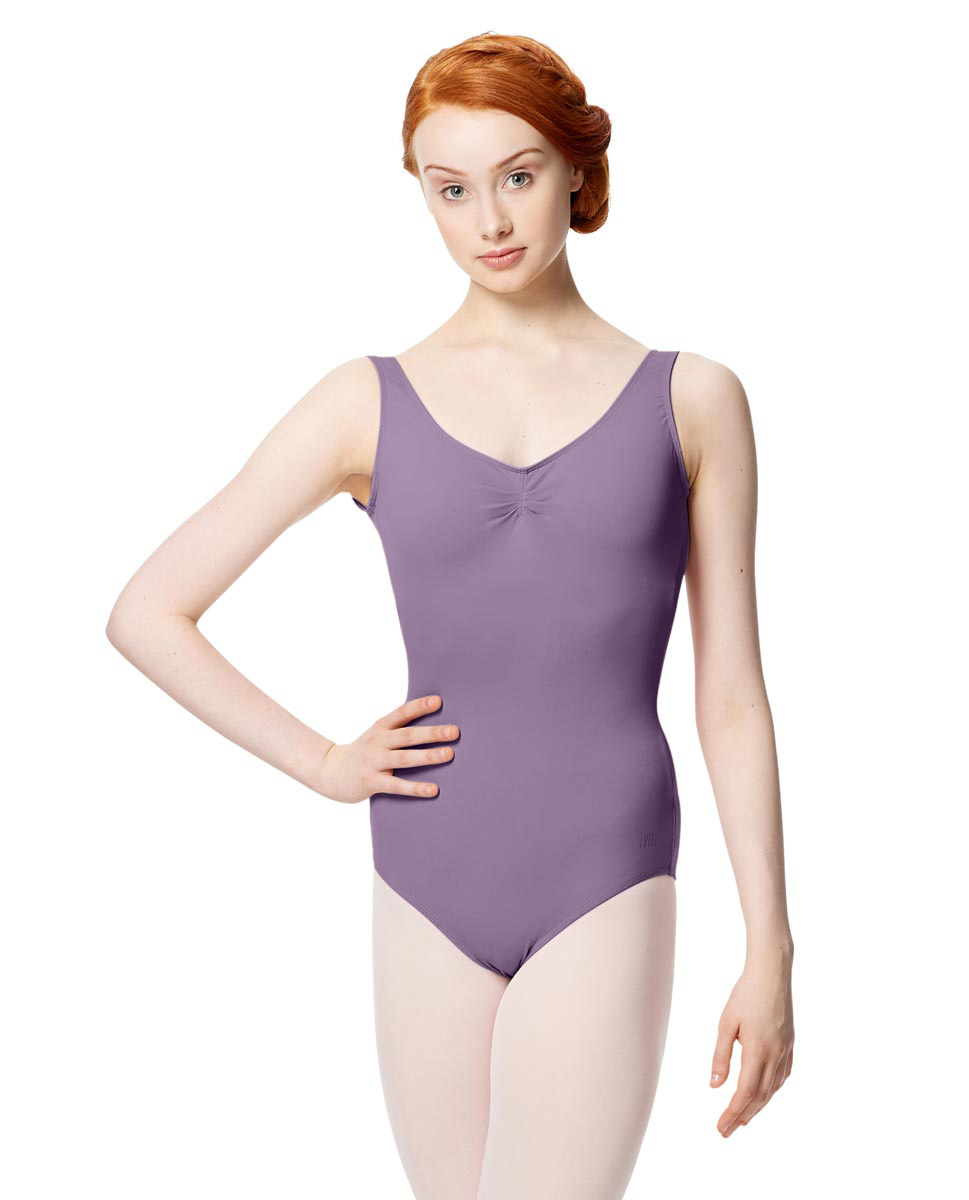 Microfiber Gathered Front and Back Tank Leotard Adrien LAV