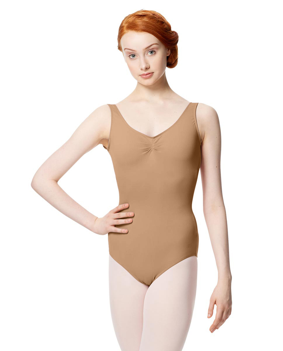 Microfiber Gathered Front and Back Tank Leotard Adrien NUD