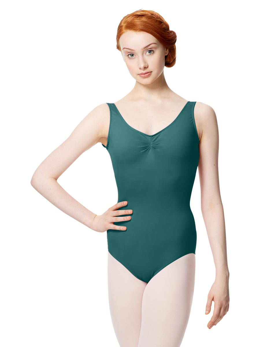 Microfiber Gathered Front and Back Tank Leotard Adrien TEA