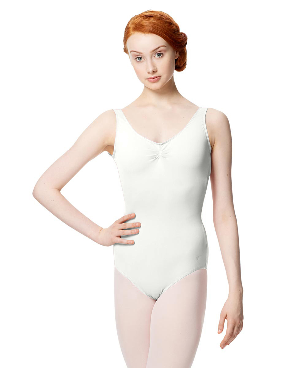 Microfiber Gathered Front and Back Tank Leotard Adrien WHI