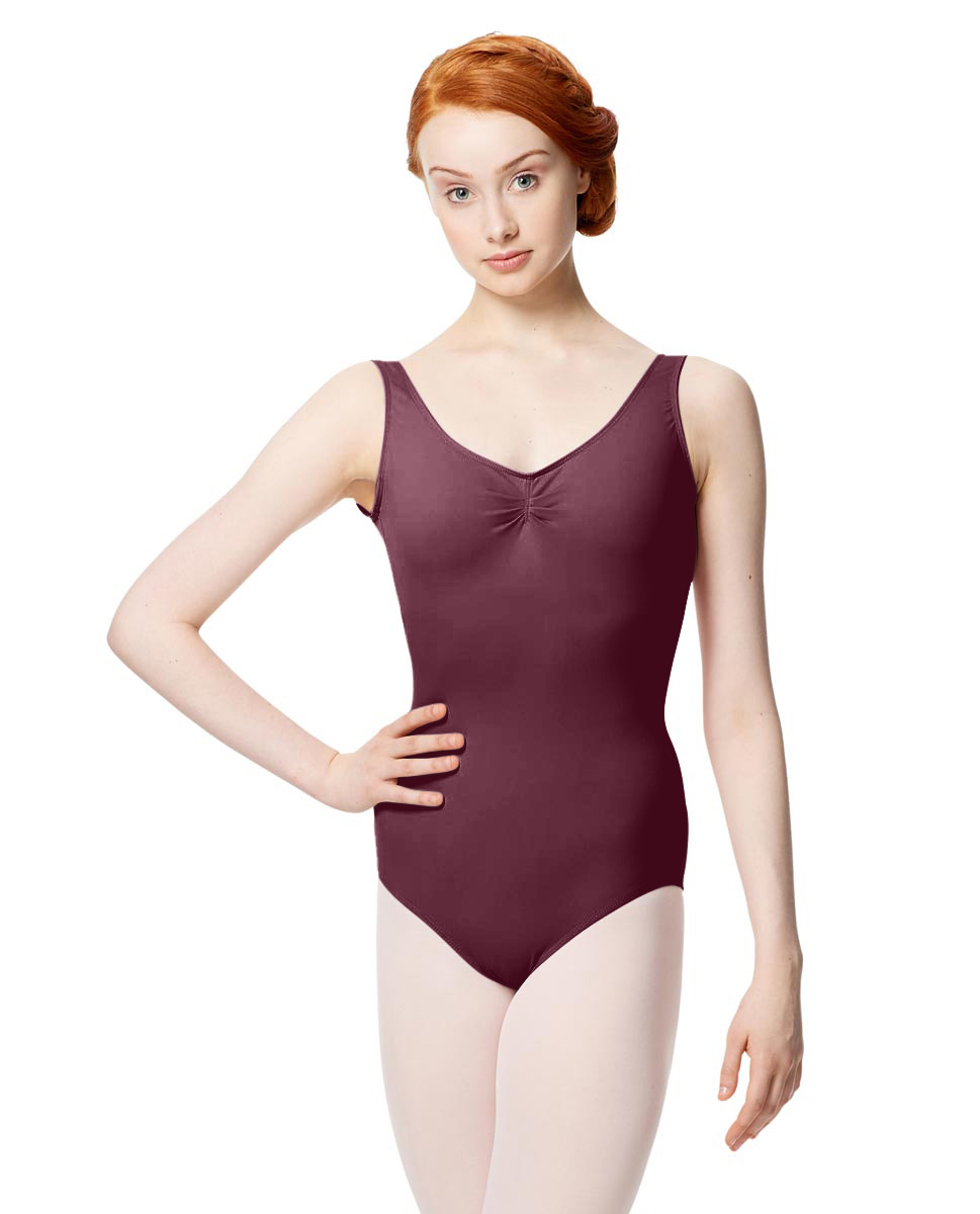 Microfiber Gathered Front and Back Tank Leotard Adrien WINE