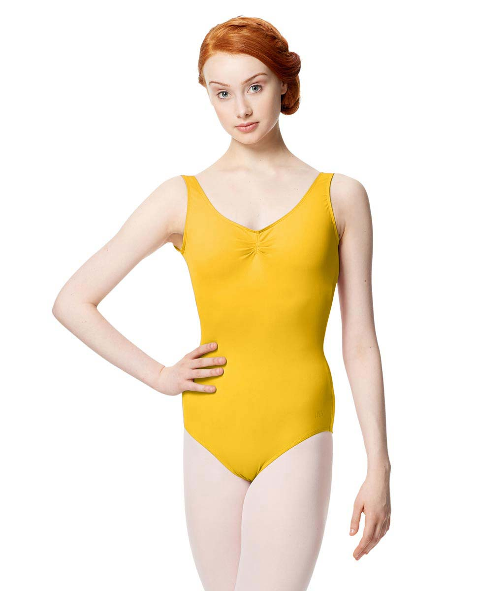 Microfiber Gathered Front and Back Tank Leotard Adrien YEL