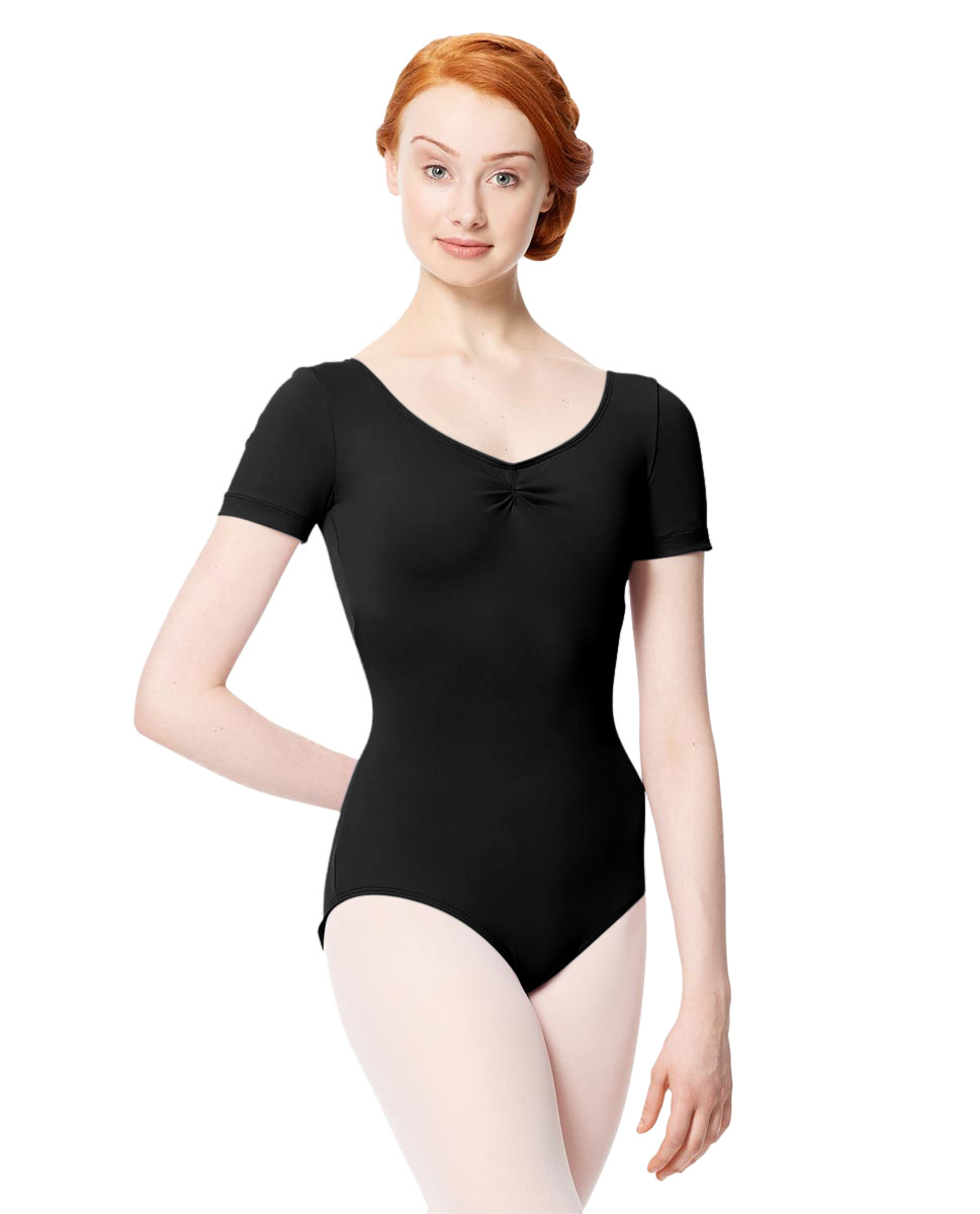 Microfiber Gathered Front and Back Short Sleeve Leotard Sofia BLK