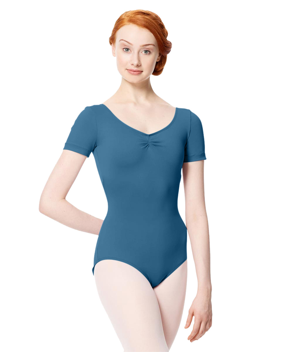 Microfiber Gathered Front and Back Short Sleeve Leotard Sofia BLUE