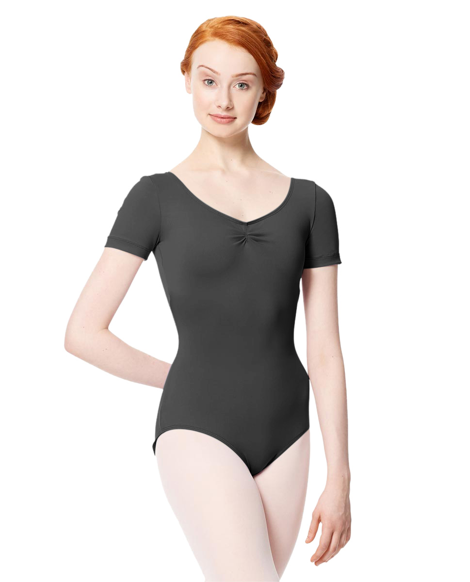 Microfiber Gathered Front and Back Short Sleeve Leotard Sofia DGRE