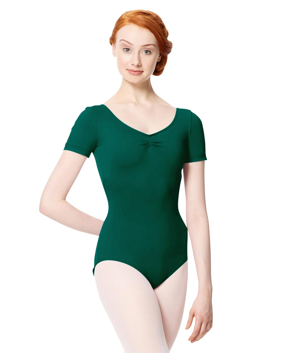 Microfiber Gathered Front and Back Short Sleeve Leotard Sofia DGREEN
