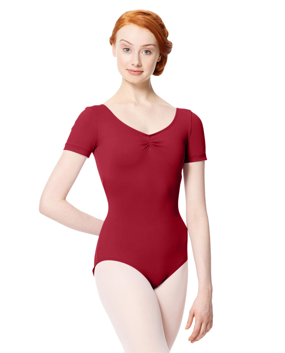 Microfiber Gathered Front and Back Short Sleeve Leotard Sofia DRED
