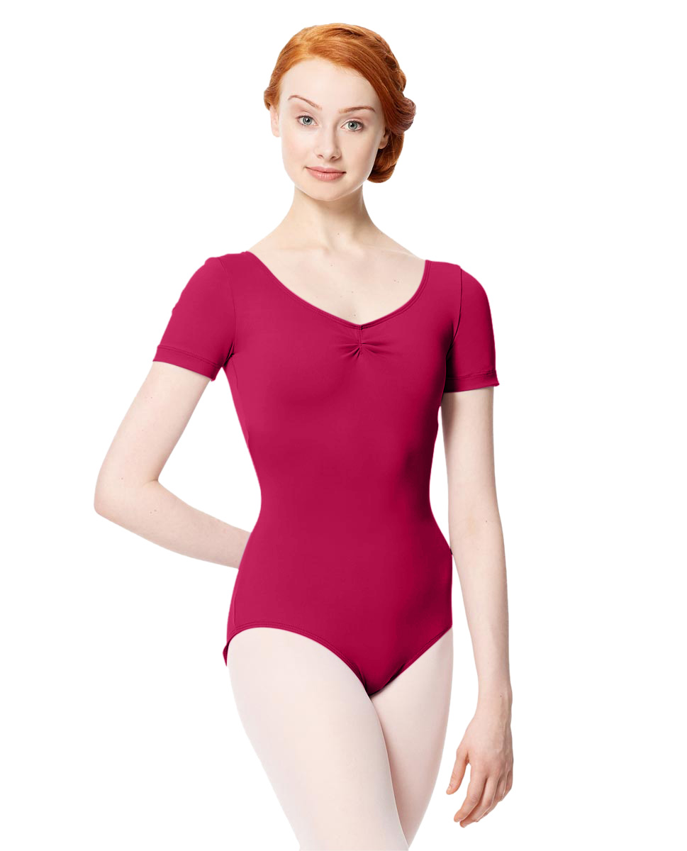 Microfiber Gathered Front and Back Short Sleeve Leotard Sofia FUC