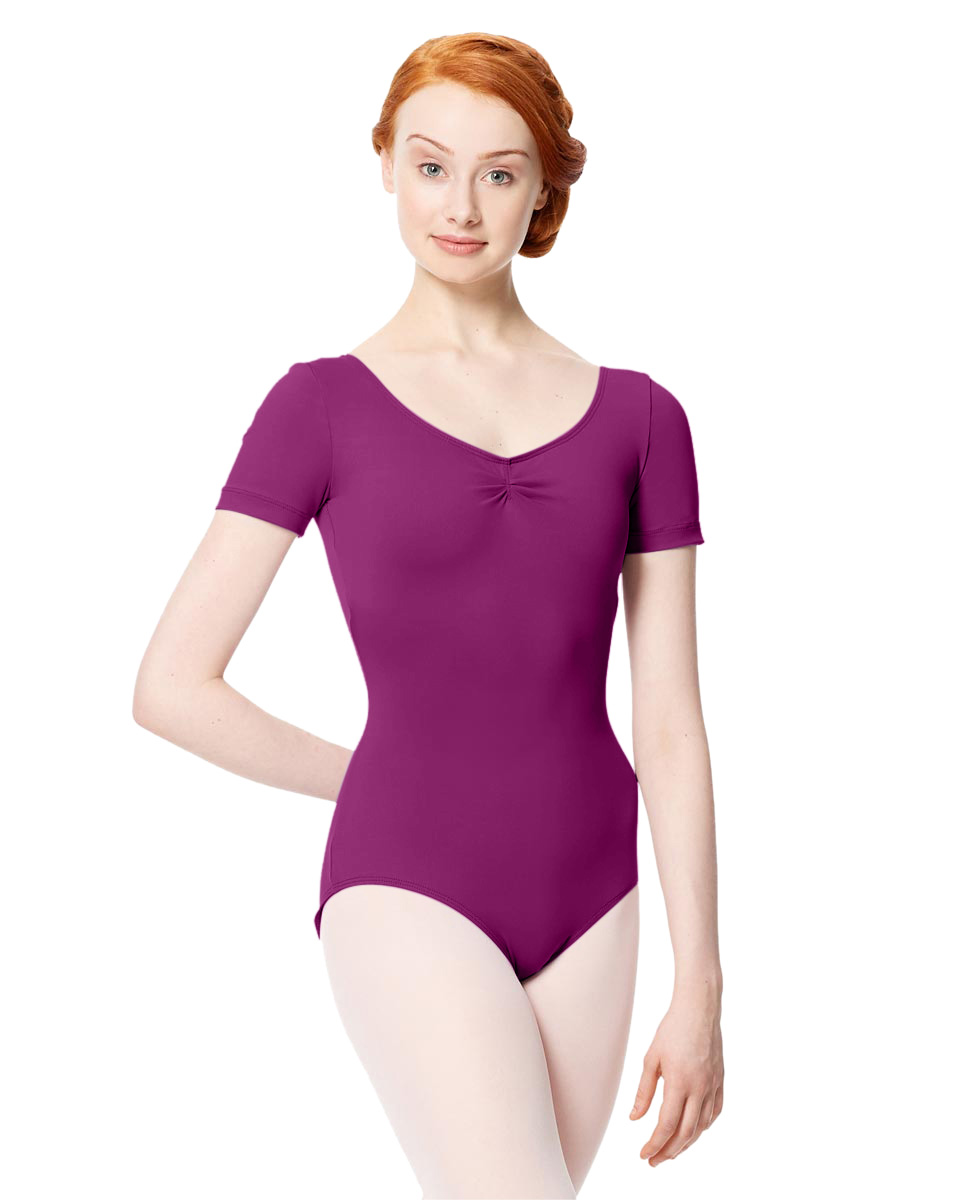 Microfiber Gathered Front and Back Short Sleeve Leotard Sofia GRAP