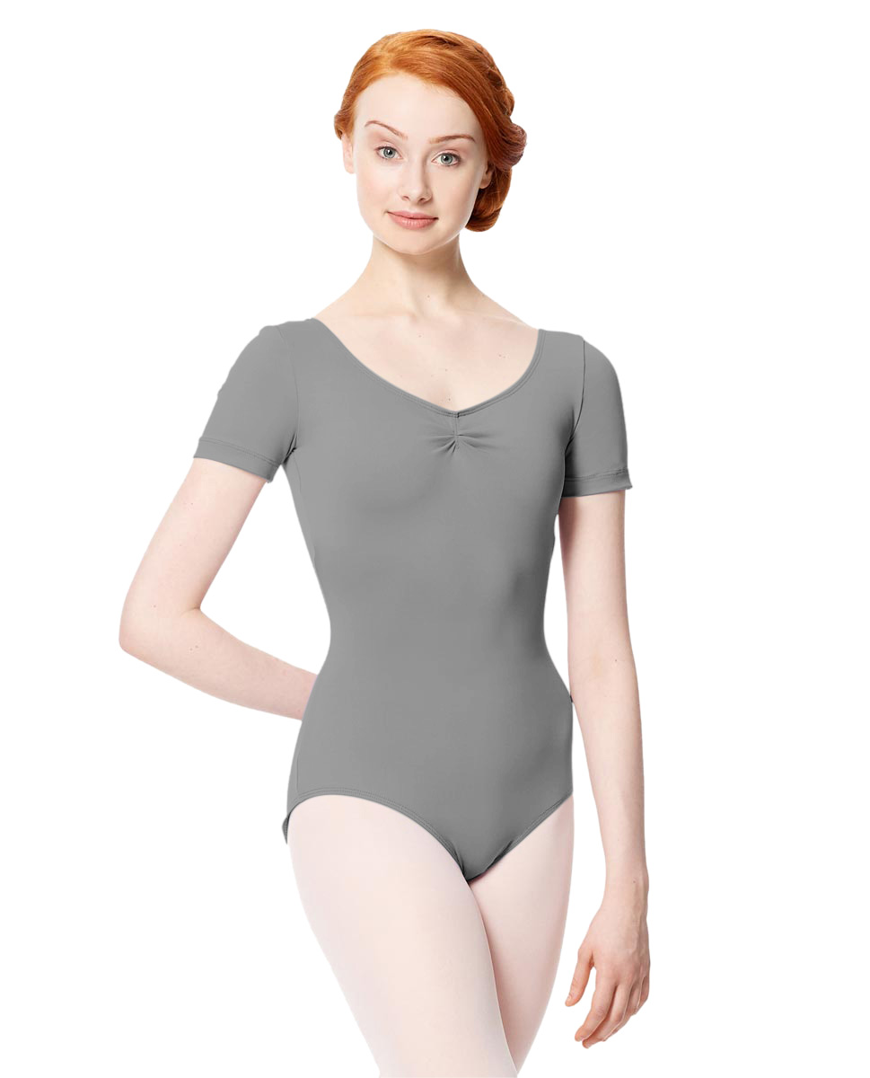 Microfiber Gathered Front and Back Short Sleeve Leotard Sofia GRE