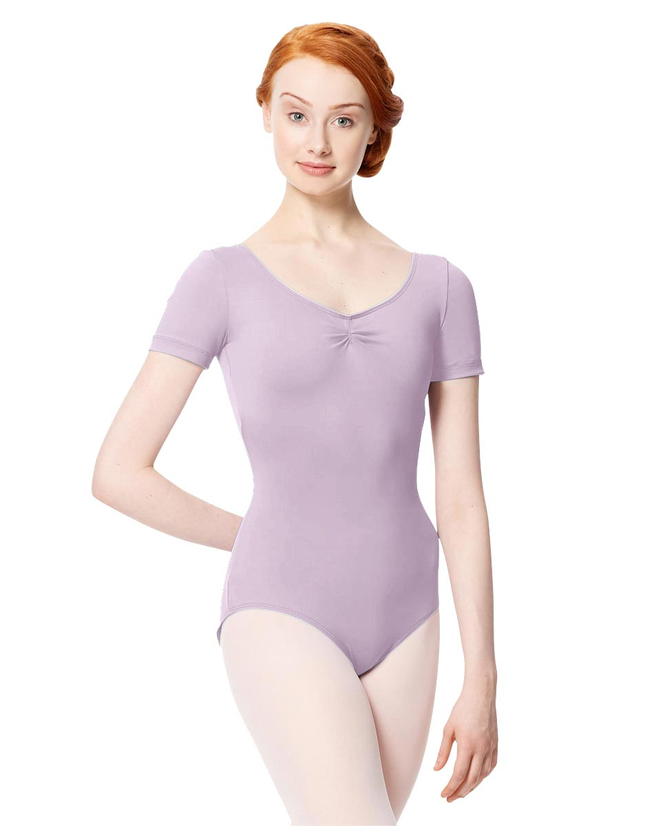 Microfiber Gathered Front and Back Short Sleeve Leotard Sofia LIL