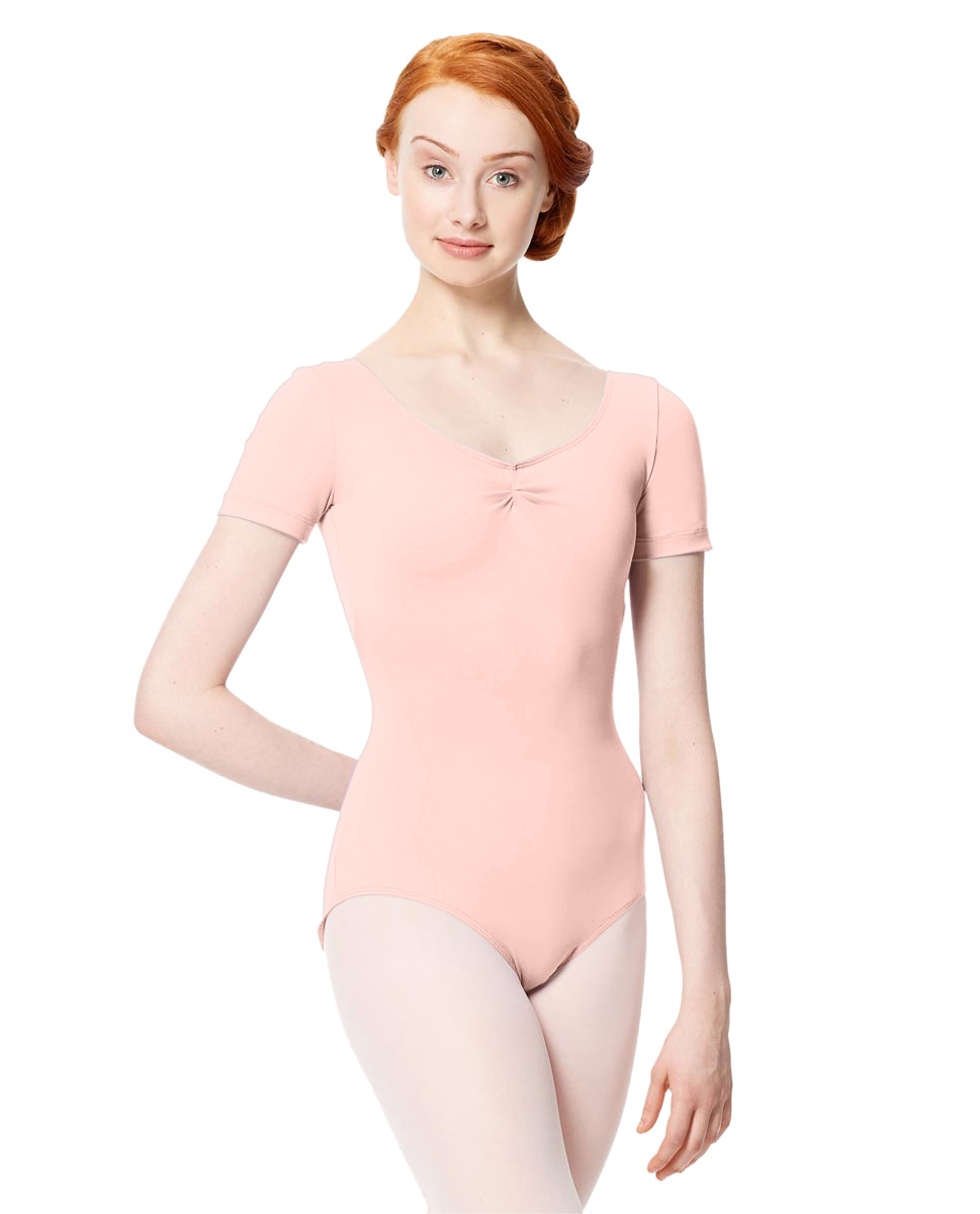 Microfiber Gathered Front and Back Short Sleeve Leotard Sofia LPNK