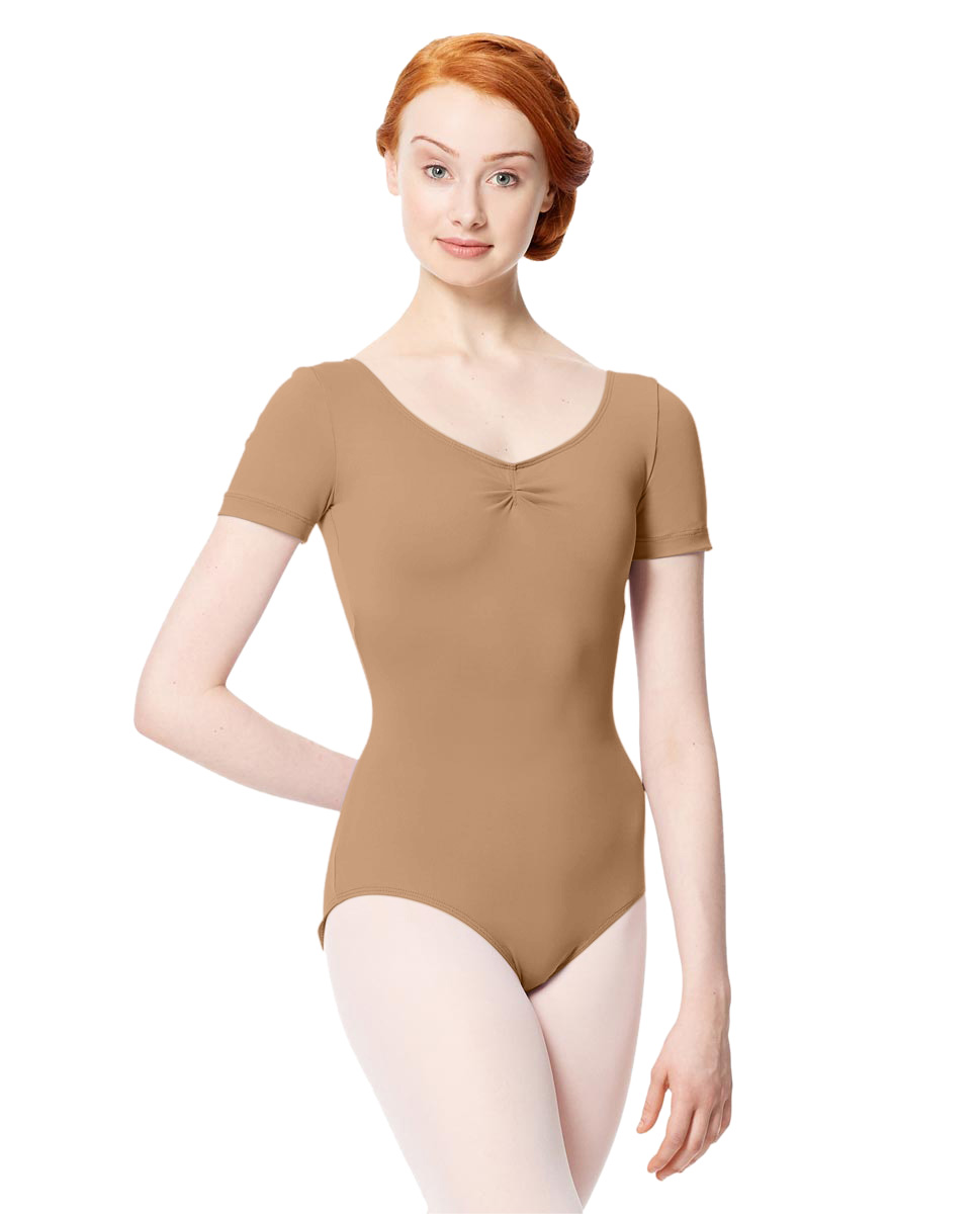 Microfiber Gathered Front and Back Short Sleeve Leotard Sofia NUD
