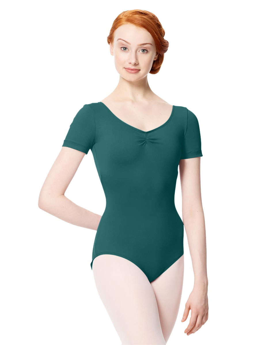 Microfiber Gathered Front and Back Short Sleeve Leotard Sofia TEA