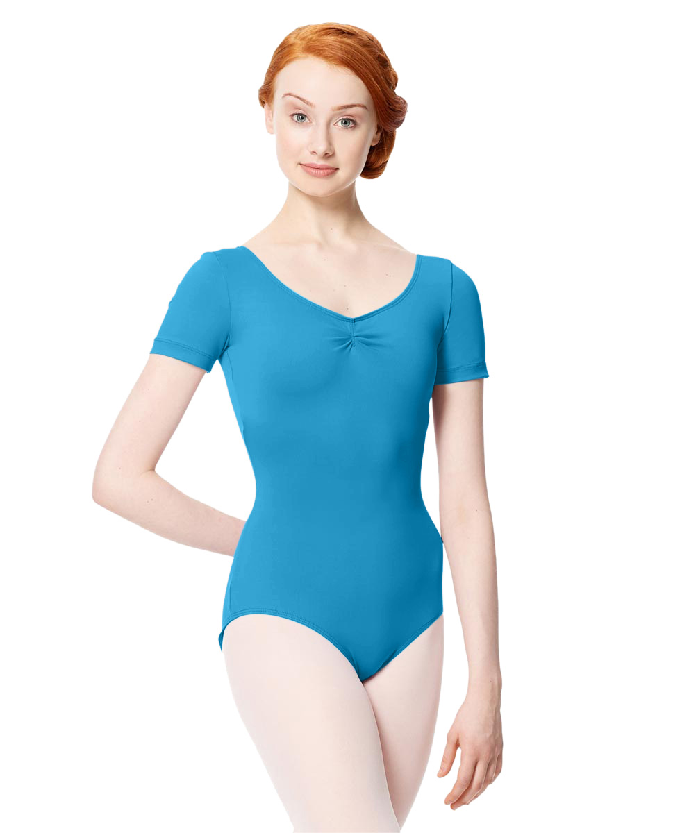 Microfiber Gathered Front and Back Short Sleeve Leotard Sofia TUR