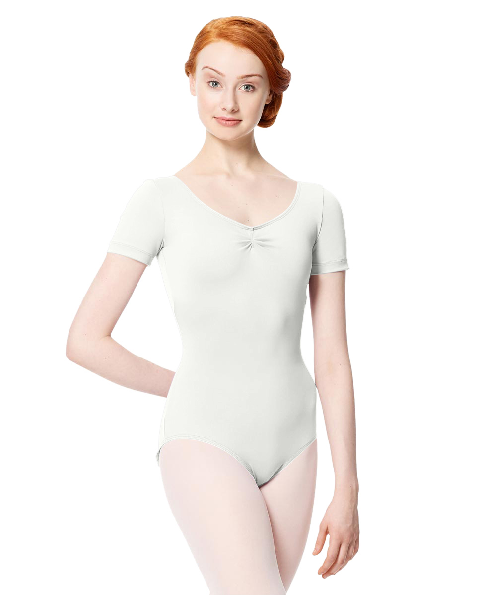 Microfiber Gathered Front and Back Short Sleeve Leotard Sofia WHI