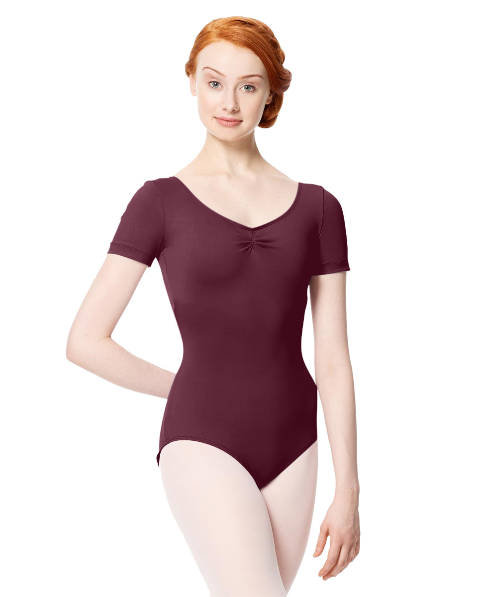 Microfiber Gathered Front and Back Short Sleeve Leotard Sofia WINE