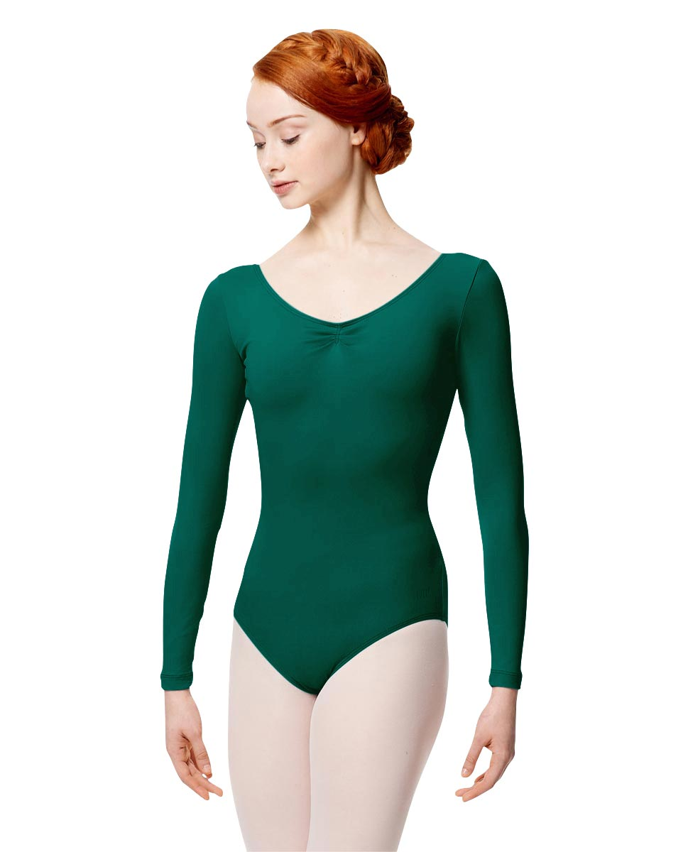 Microfiber Gathered Front and Back Long Sleeve Leotard Samantha DGREEN