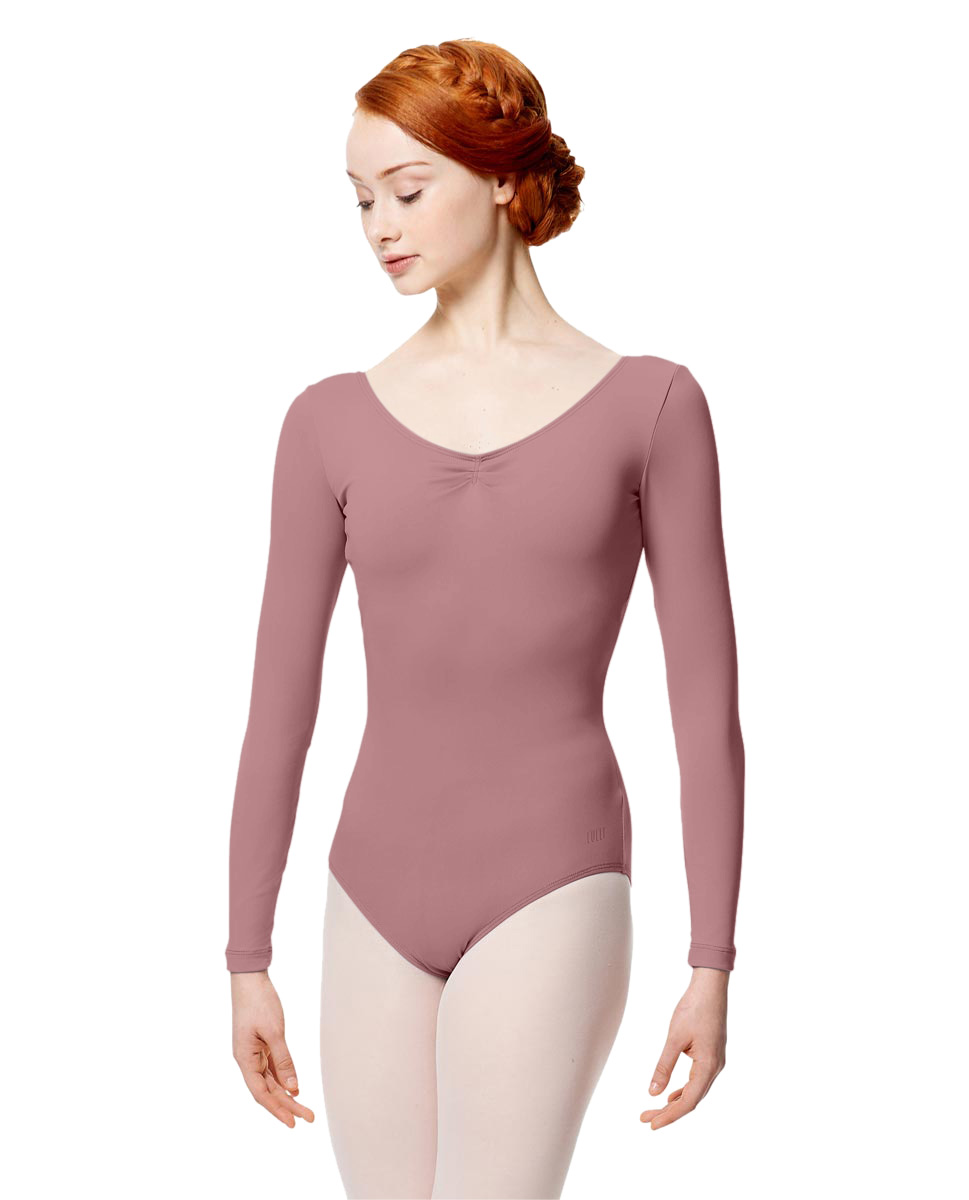 Microfiber Gathered Front and Back Long Sleeve Leotard Samantha DROS