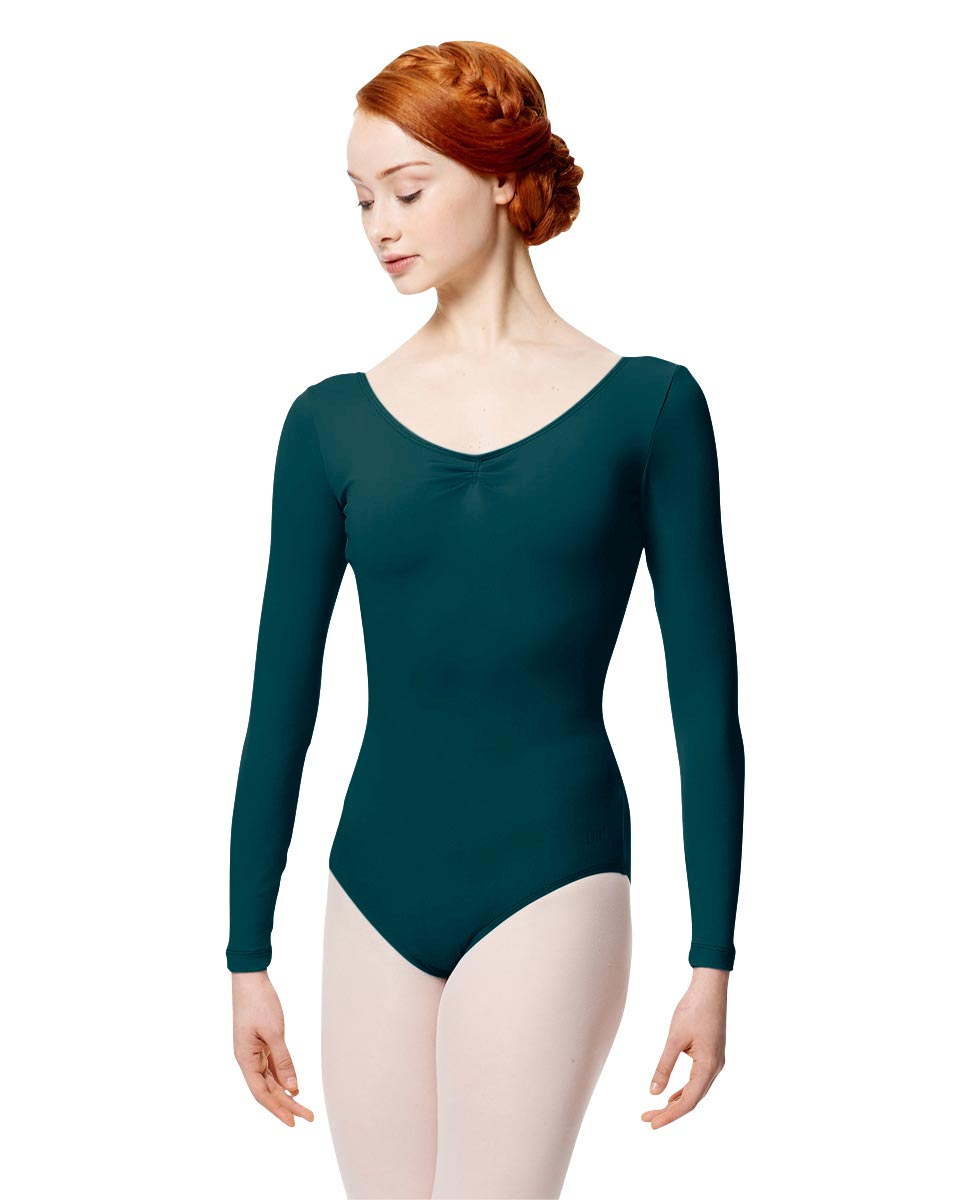 Microfiber Gathered Front and Back Long Sleeve Leotard Samantha DTEAL