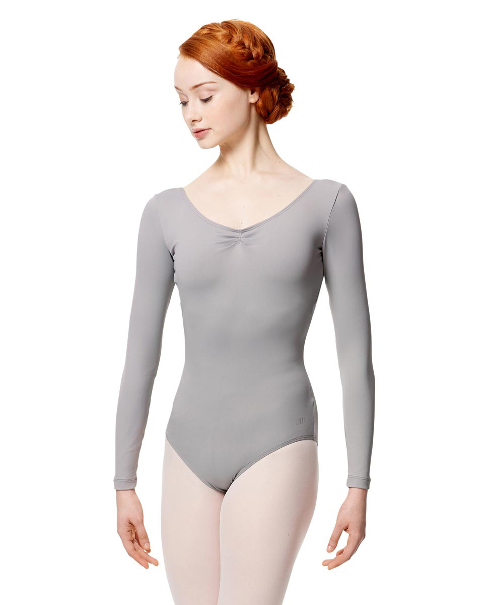 Microfiber Gathered Front and Back Long Sleeve Leotard Samantha GRE