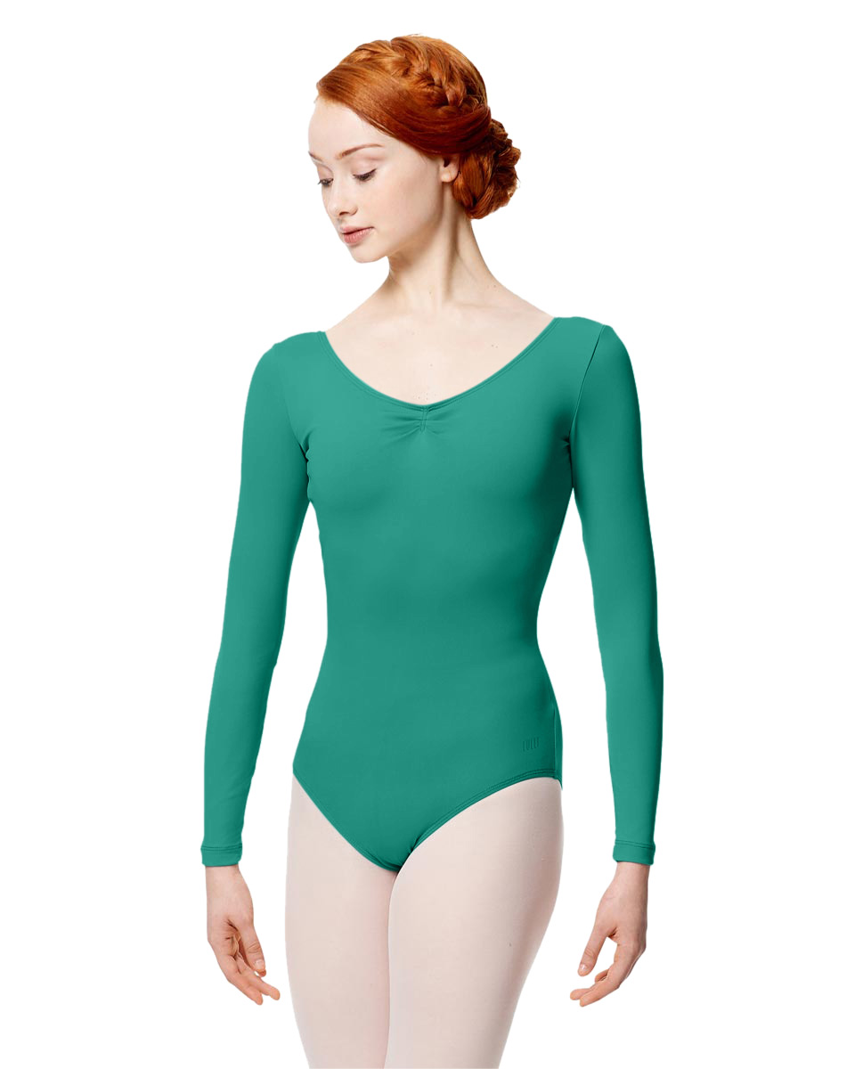 Microfiber Gathered Front and Back Long Sleeve Leotard Samantha JAD