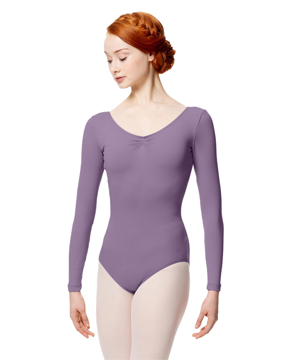 Microfiber Gathered Front and Back Long Sleeve Leotard Samantha LAV
