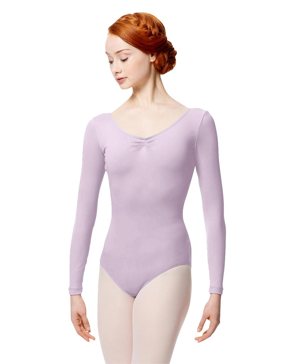 Microfiber Gathered Front and Back Long Sleeve Leotard Samantha LIL