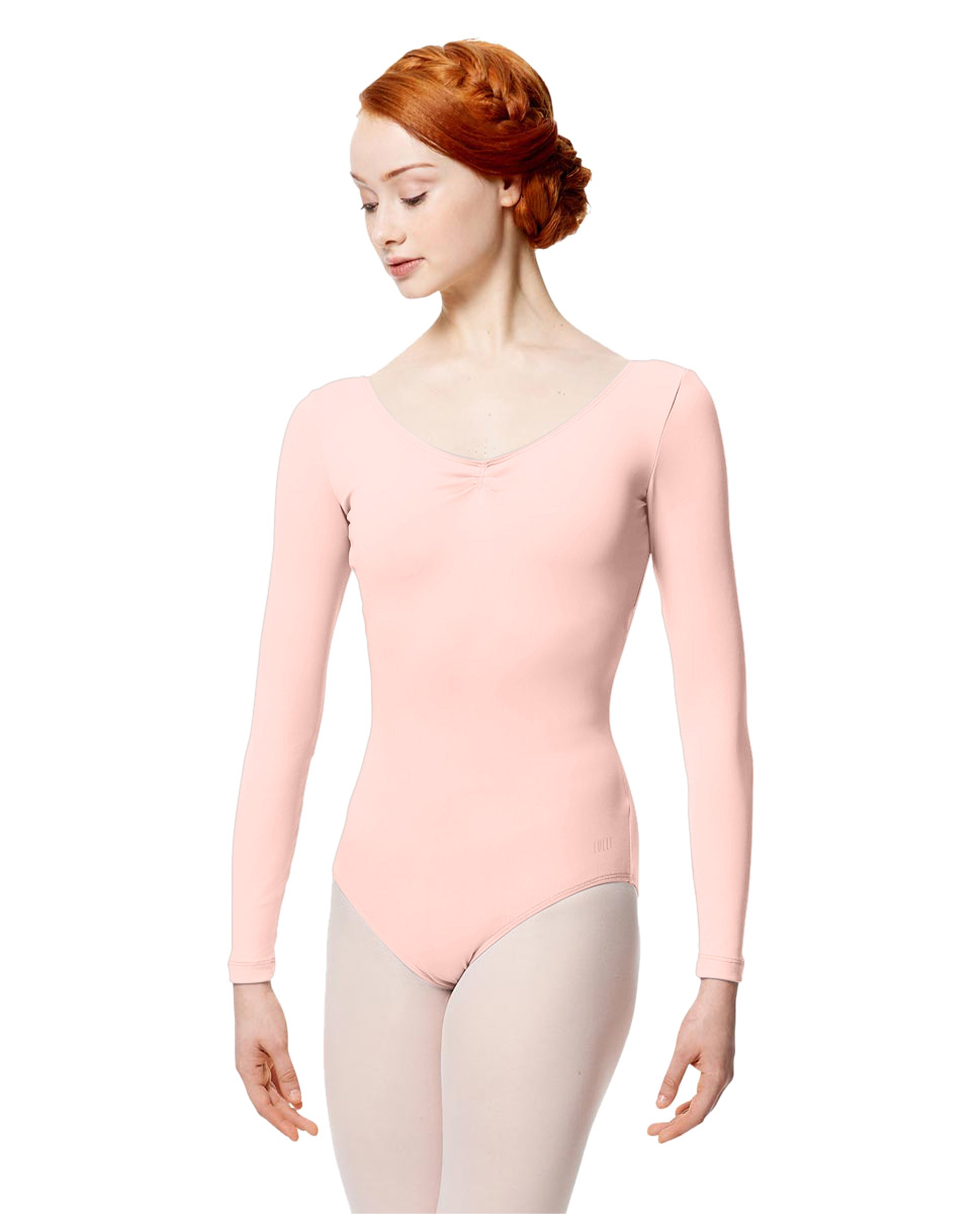 Microfiber Gathered Front and Back Long Sleeve Leotard Samantha LPNK