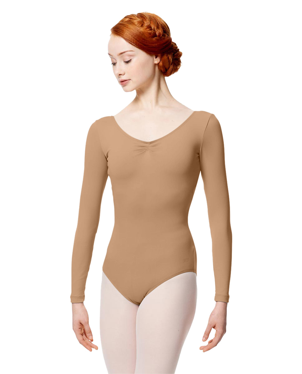 Microfiber Gathered Front and Back Long Sleeve Leotard Samantha NUD