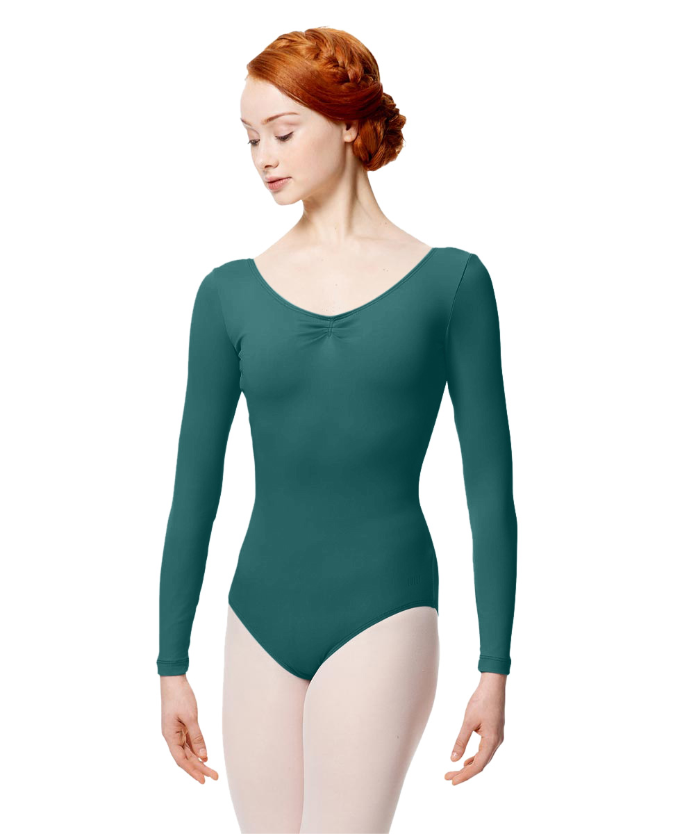Microfiber Gathered Front and Back Long Sleeve Leotard Samantha TEA