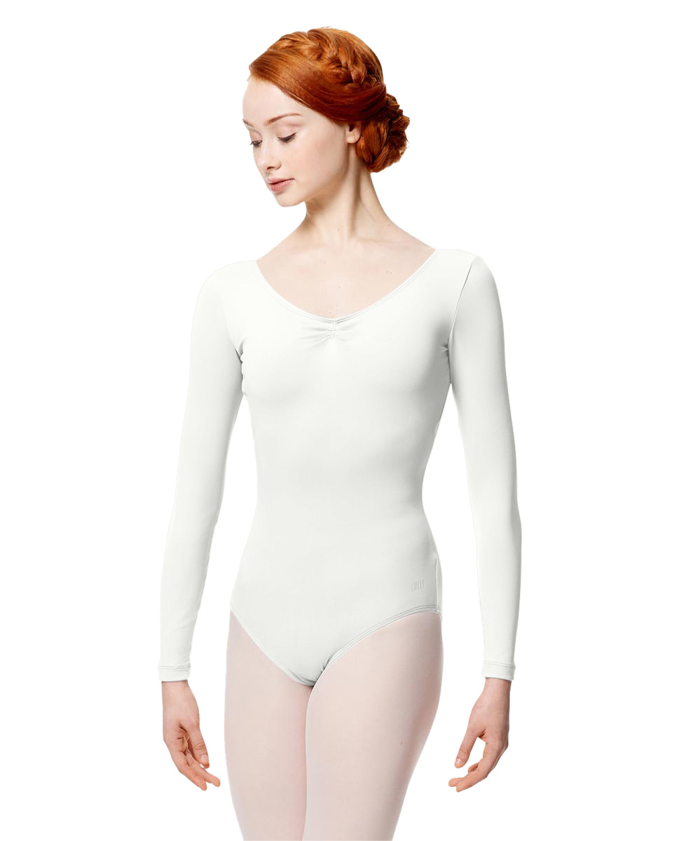 Microfiber Gathered Front and Back Long Sleeve Leotard Samantha WHI