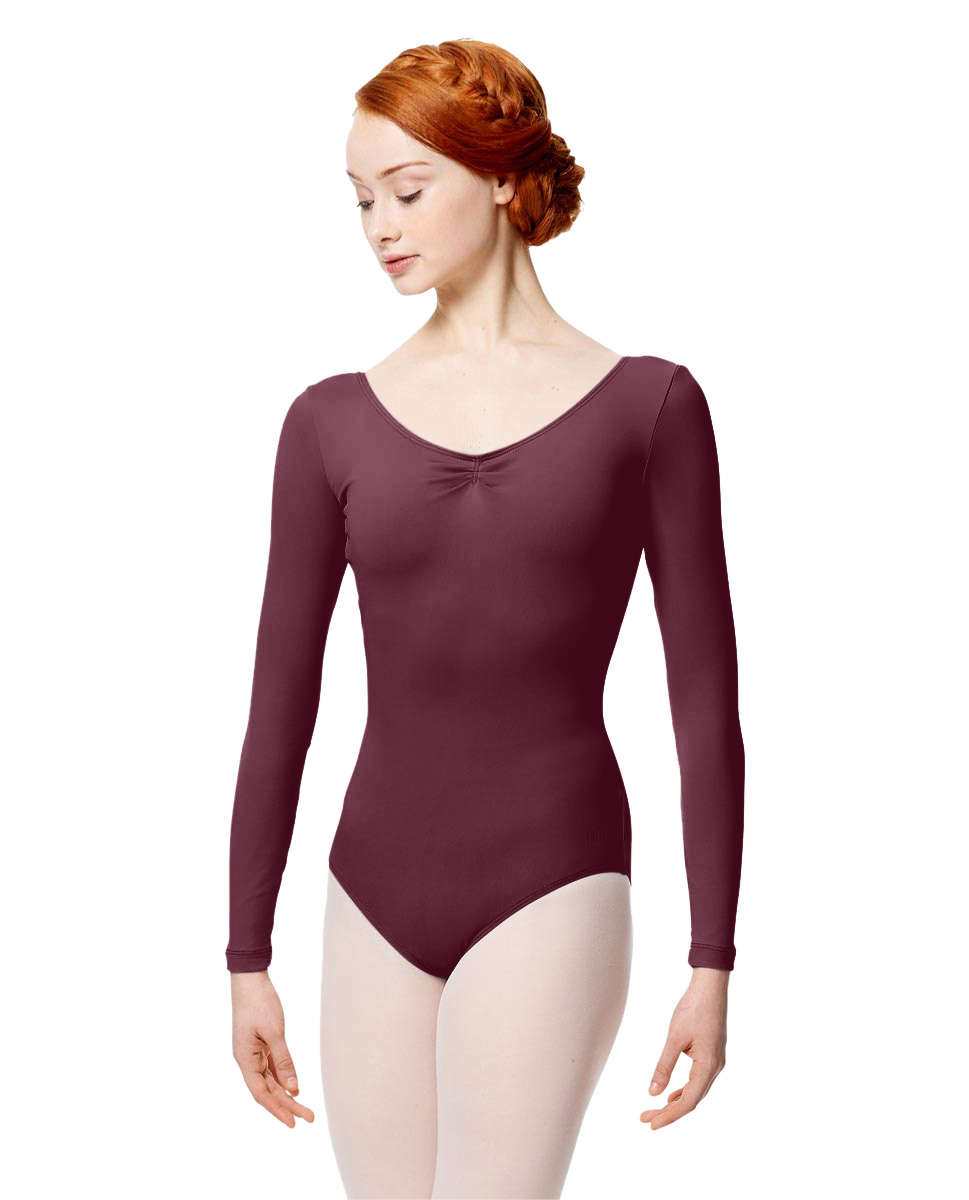 Microfiber Gathered Front and Back Long Sleeve Leotard Samantha WINE