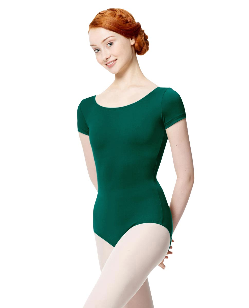 Women Microfiber Short Sleeve Leotard Abigail DGREEN